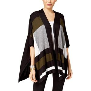 Alfani Sweater Color Blocked Cape Cardigan Black